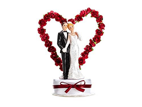 PartyDeco Hochzeitstorte Topper Maroon Hearted Braut und Bräutigam Hochzeit Dekoration Party...
