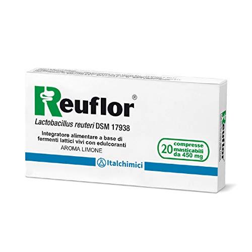 Reuflor20compresse| IntegratoreAlimentareabase diFermentiLatticivivi|Utileper favorirel'equilibrio dellaFloraIntestinale| Aroma limone|Confezioneda 20compressemasticabilida 450 mg