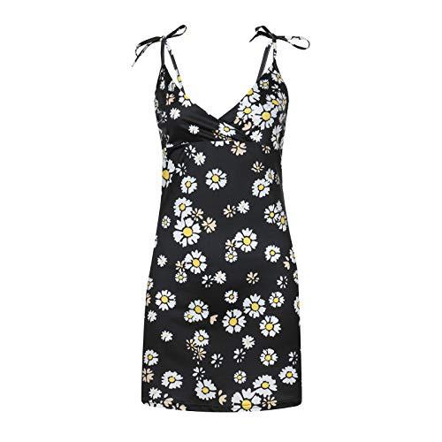 Women Sleeveless Dresses, Bodycon Short Dress Sunflower Printed Slim Fit Tank Shirt Mini Dresses Sundress