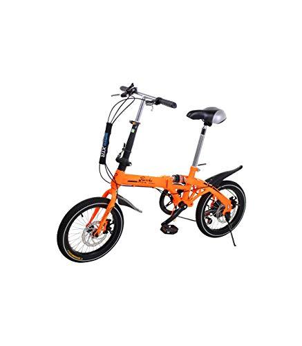 Riscko - Bicicleta Plegable Urbana | Cambios Shimano | Super Bike Unisex | Modelo bep-32 | Adulto de 16'' Color: Naranja