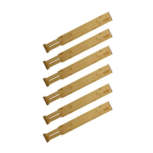 7Penn Schubladenteiler aus Bambus, 43,2 - 55,9 cm, federbelastete Bambus-Schubladeneinteiler, Küchen-Schubladen-Organizer, 6 Stück