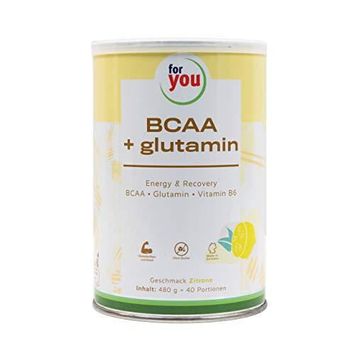 for you BCAA + Glutamin Energy & Recovery Zitrone I hochreine konzentrierte Mischung L-Leucin L-Isoleucin L-Valin L-Glutamin Vitamin B 6 I 480 g Sportnahrung BCAA Aminosäuren Pulver 40 Portionen