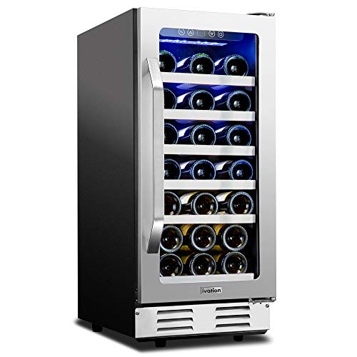"Ivation 31-Bottle 15"" Built-In Compressor Wine Cooler/Cellar Undercounter Wine Fridge 