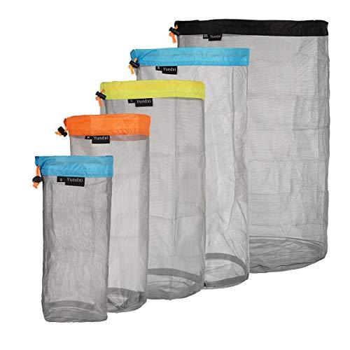 Yundxi Ultralight Ultra Stuff Sacks Set Mesh Drawstring Storage Bags Set for Travelling Camping Hiking Set of 5 pieces