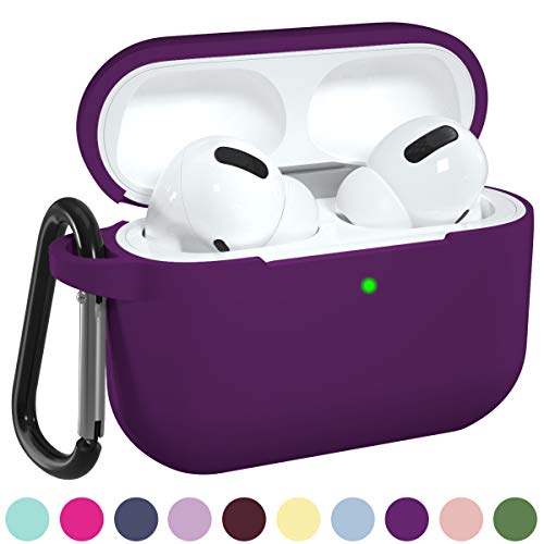DGege Silicone Case Cover Compatible with Apple AirPods Pro, Protective Case with Carabiner for Airpods 3 (Front LED Visible), Purple