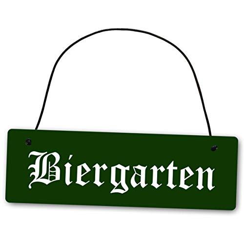 Homeyourself Metallschild Biergarten 25 x 8 cm aus Alu Verbund (Alu, Kunststoff) für In- und Outdoor Deko Schild Dekoschild Wandschild außen und Innen