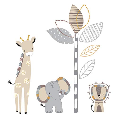 Lambs & Ivy Jungle Safari Gray/Tan Elephant/Giraffe Nursery Wall Decals/Stickers