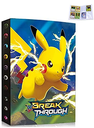 Carpeta compatible con tarjetas Pokemon, Álbum Tarjetero libro compatible con Cartas Pokemon, Álbumes de tarjetas coleccionables, Capacidad para tarjetas de 30 páginas y 240 (SDQ-PIKACHU)