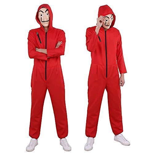 Unisex Erwachsene Verkleidung Kostüm Overall für Haus des Geldes mit Dali Maske, Cosplay Jumpsuit für La casa de Papel, Weihnachten, Karneval, Halloween Party Kostüm XL(180-185cm)