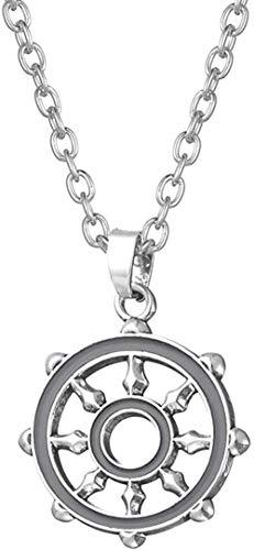 GLLFC Collar para Mujer, Collar para Hombre, Deportes, Collar mágico con Cadena de eslabones de Ancla con diseño de brújula de Salomón, Colgante, Collar, Regalo para niñas y niños