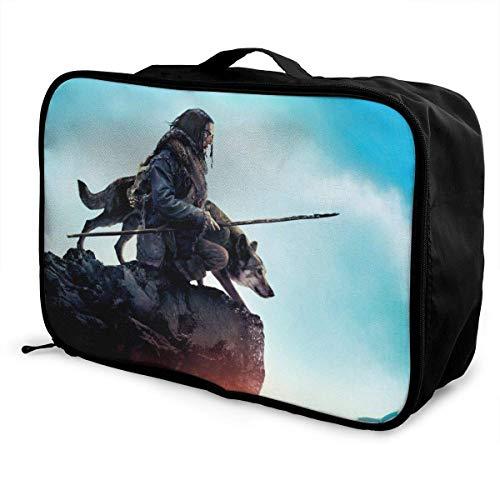 Alpha The Solutrean Girl Wolf Lance Travel Lage Duffel Bag for Women Men Kids, Waterproof Large Bapa Caity Lightweight Suitcase Portable Bags