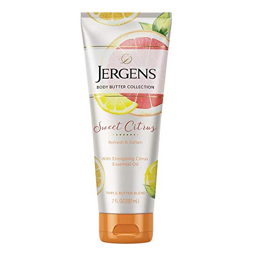 Jergens Sweet Citrus Body Butter Moisturizer 7 Ounce Lotion with Essential Oil for Indulgent Moisturization