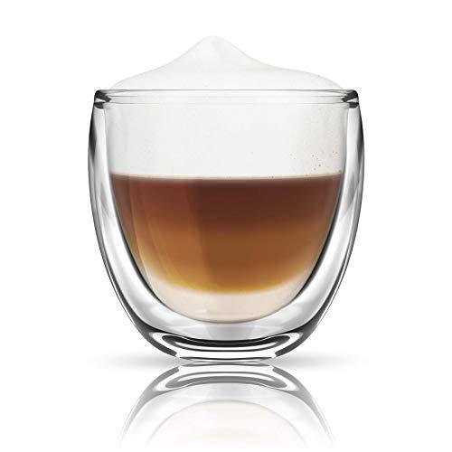 Thermo Glas Doppelwandig Latte Macchiato Cocktail Kaffee Cappuccino Gläser Set 2 STK (230ml, Cappuccino)