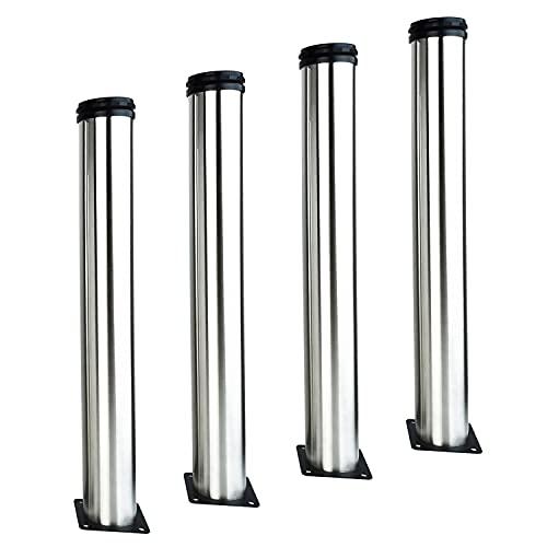4X Patas de muebles ajustables de 450 mm Patas de escritorio de TV de mesa de café de bricolaje de acero inoxidable - Altura ajustable (Total: 450-465 mm) - con tornillos
