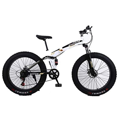 WZB 26'in Lega di Mountain Bike Pieghevole 27 velocità Doppia Sospensione 4.0 inch Pneumatico Fat Bike in Bicicletta su Neve, Montagne, Strade, Spiagge, ECC, 5