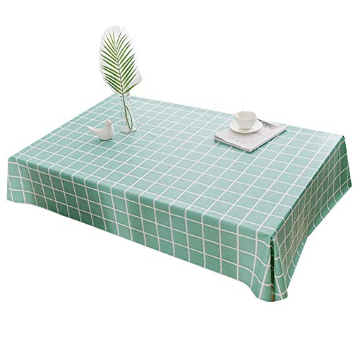 Tafelkleed Bedrukt tafelkleed Salontafel doek waterbestendig Olie resistent plastic Plaid Vierkante tafel en rond tafelkleed Diverse maten en kleuren,Green,100X150cm