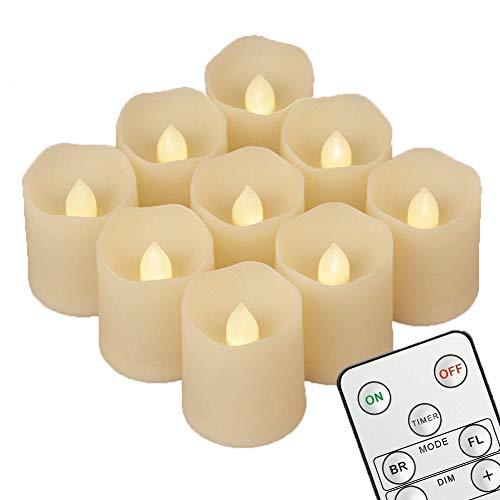 9 LED Kerzen [Timer , Fernbedienung & Batterien] - 3 Modi Dimmbare Teelichter LED Votive Weihnachtskerzen für Weihnachtsbaum, Weihnachtsdeko, Hochzeit, Geburtstags, Party