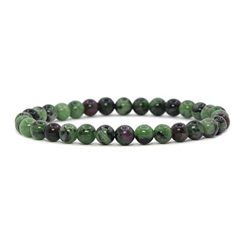Justinstones Natural Ruby in Zoisite Gemstone 6mm Round Beads Stretch Bracelet 6.5 Inch