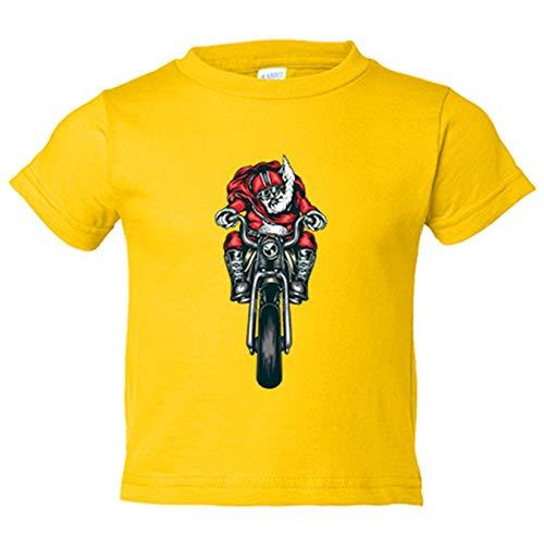 Camiseta niño motero Papa Noel - Amarillo, 7-8 años