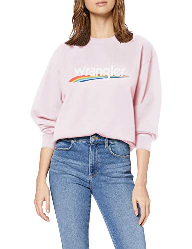 Wrangler Damen HIGH Rib Retro Sweat Sweatshirt, Violett (Lilac Ice P13), Large (Herstellergröße: L)