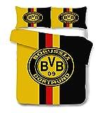 AINYD con el Logo del Club de fútbol de Dortmund Muy Suave Transpirable Microfibra Juegos de Fundas para edredon(200x200cm), Funda nórdica con Cremallera, Respirable Almohada