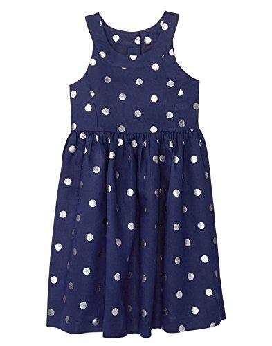 Gymboree Girls' Little Sleveless Shimmer Dot Dress, Navy, 6
