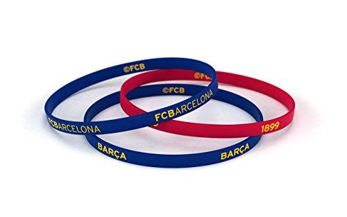 FCB Pulsera Classic Azul y Roja, Pulseras de silicona Fútbol Club Barcelona, Producto Oficial