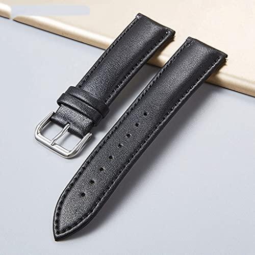 GYZX Correa de Reloj de Cuero Genuino Simple marrón Negro 16-24 mm Correas de Reloj con Hebilla de Acero Inoxidable Nuevas Mujeres Hombres Pulseras de Reloj (Color : Brown, Size : 24mm)