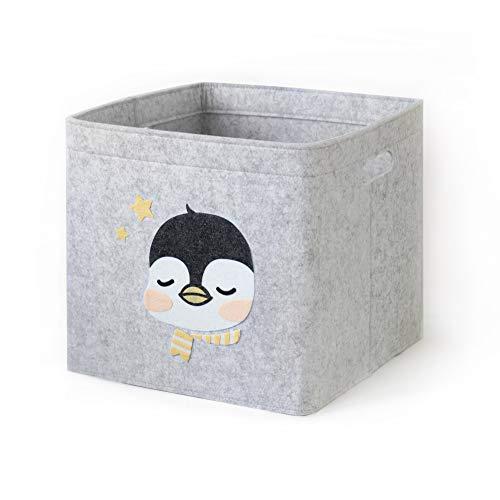 Lucky Sign-Care Aufbewahrungskorb Kinderzimmer Spielzeugkorb, 33x33cm - Baby Pinguin