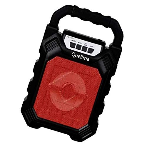 Shiwaki Portabler Multimedia Lautsprecher Mit 10 W Und Hohem Volumen Und 2200 MA Akku Mit USB Kabel - Rot + schwarz, 20 x 14,5 x 7,5 cm