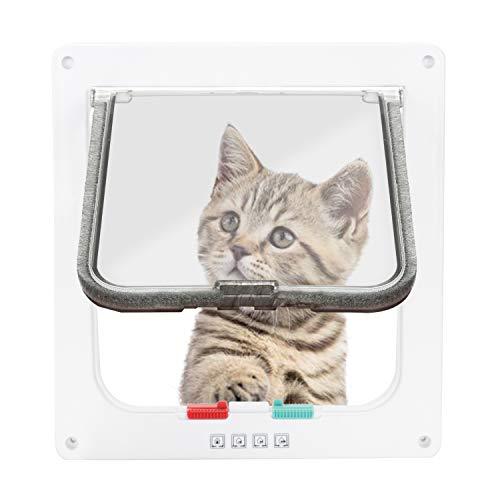 Hengda Katzenklappe Fliegengittertir Chip Hundeklappe Innentir 4-Wege-Verriegelung Haustierklappe für Katzen kleine Hunde Kunststoff (19 x 20 x 5.5cm)
