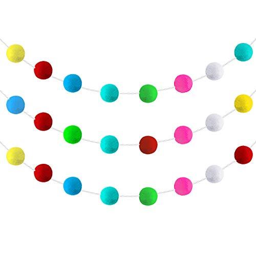 3 Pieces Pom Pom Garlands Felt Balls Banners Wall Colorful Felt Balls Garland for Home Baby Shower Party Handmade DIY Decor Supplies