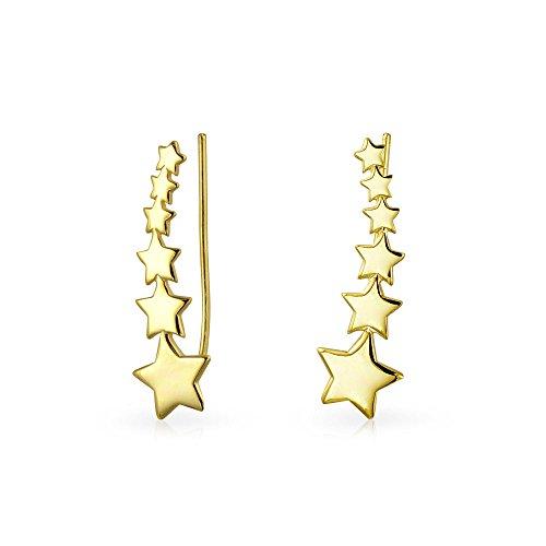 Usa Patriotische Shooting Stern Ohr Pin Kletterer Ohrringe Für Frauen Wickeln Crawler 14K Vergoldet 925 Sterling Silber