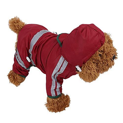 Haustier Hund Regenmantel Katze Hund wasserdichte Jacke Kapuze Regen Mantel reflektierende Overall Bekleidung für kleine mittlere Hunde(M)