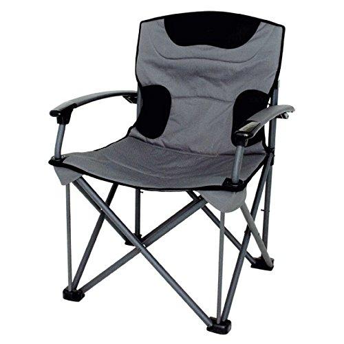 Tot 150 kg gewicht draagbaar - Stabielo - Wellness - geëloxeerde stalen stoel - vouwstoel - met schuimrubber gevuld + armleuningen - kleur grijs/zwart met draagkracht 150 KILO - alleen 6,25 KILO licht - tegen meerprijs met extra HOLLY Luxe paraplu's en holle universele steunbeugel met rubberen beschermdoppen voor krasvrije bevestiging - holle stabiele inovaties gemaakt in Duitsland - holly-sunshade -