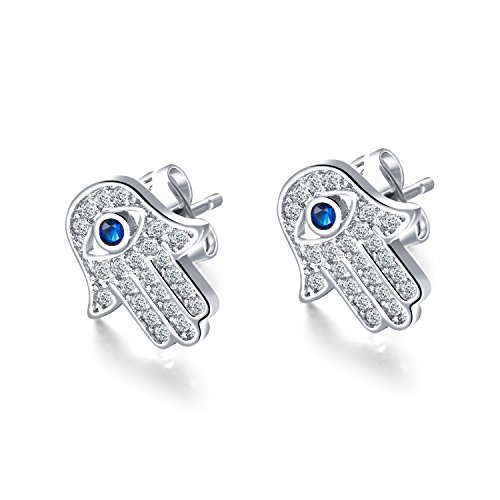 Yellow Gold/White Gold Plated Evil Eye and Hamsa Hand of Fatima White Blue Cubic zircon crystal Stud Earrings For Women Teen Girls (White Gold)