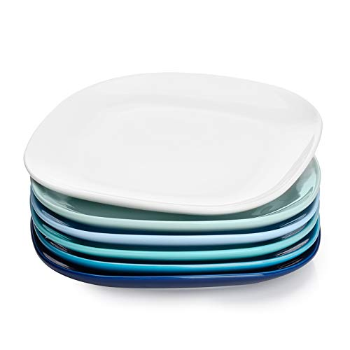 Sweese 153.003 Porcelain Square Dessert Salad Plates - 7.4 Inch - Set of 6, Cool Assorted Colors