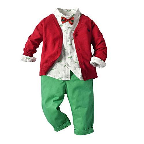 Agoky Kinder Baby Jungen Kleidung Set Langarm Kentkragen Hemd + Strickjacke + Hose + Fliege Gentleman Anzug für Geburtstagsparty Festlich Rot 104-110