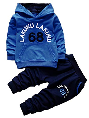 Toddler Baby Boys Long Sleeve Hoodie Tops Sweatsuit Pants Outfit Set(Blue,3T)