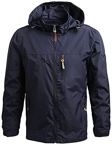 WINKEEY Chaqueta cortavientos para hombre, chaqueta deportiva para senderismo al aire libre, chaqueta de invierno gruesa de talla grande, Azul M