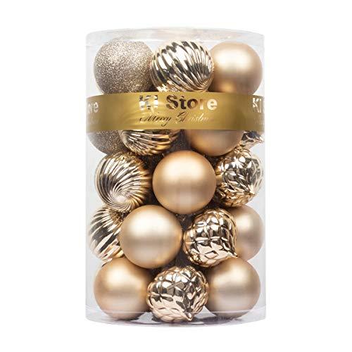 Busybee weihnachtskugeln 34 Stücke 6CM Ornamente für Weihnachtsbaum Champagner Christbaumkugeln Weihnachtsdekoration Kugeln