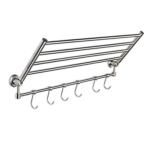 QWXFY Wandregal Für Bad-Handtuchhalter, Mit Mehreren Handtuchhaltern, Klappbare Handtuchhalter Aus Edelstahl SUS 304 Mit 6 Haken