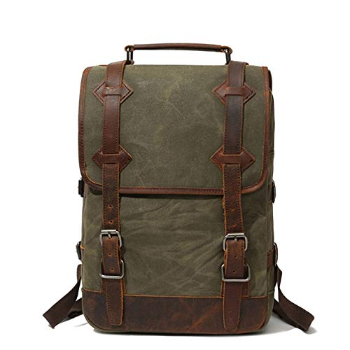DETZH Uomo in Pelle Vintage Canvas Zaino Casuale Bookbag Laptop Zaini Viaggio Zaino, Zaino Militare, Poliestere Liner Multi Tasche,Army Green