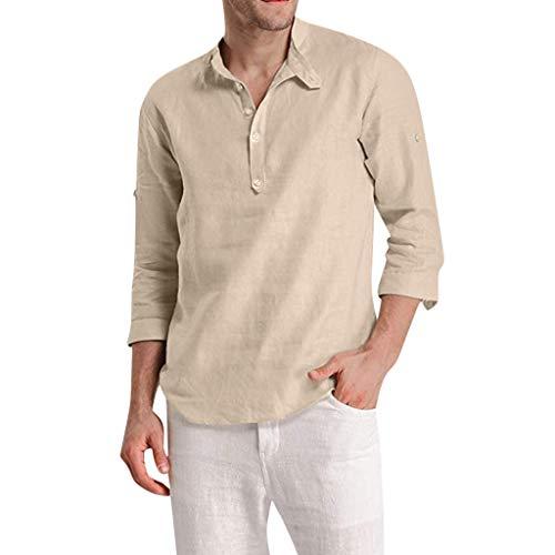 Adaoxy Leinenhemd Herren Einfarbiges Hemd Aus Baumwoll-Leinen Mit 9 ÄRmeln Langarm Sommerhemd Herren Regular Fit Freizeithemd