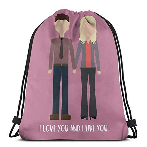Ahdyr Leslie Ben I Love You and I Like You - Mochila de hombro con cordón con impresión 3D, no tejida y duradera, para gimnasio, 40,6 x 35,5 cm