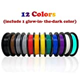 Dikale PLA 3D Printer Filament(12 Assorted Colors, 500g per Spool, 12 Spools), 1.75mm, Dimensional...