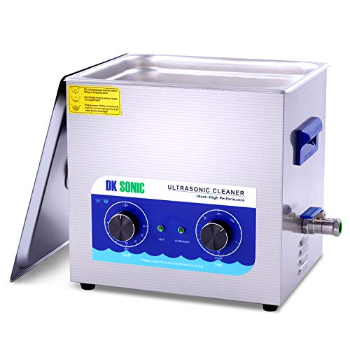 Commercial Ultrasonic Cleaner - DK SONIC 10L 240W Sonic Cleaner with Heater and Basket for Metal Parts, Carburetor,Fuel Injector,Record,Circuit Board,Brass,Engine Parts,Tableware,Home Repair Tool,etc