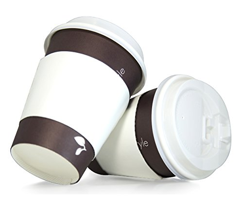 100 pack 12oz disposable paper coffee cups with lid and sleeves for hot beverage drinks to go | Free stirring straws Included