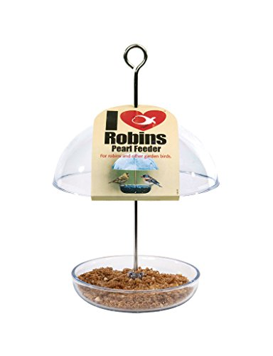 Clear Hanging Bird Feeder - I Love Robins Pearl Feeder with 15cm rain dome - attracts small garden birds. Fill with birdseed or mealworms