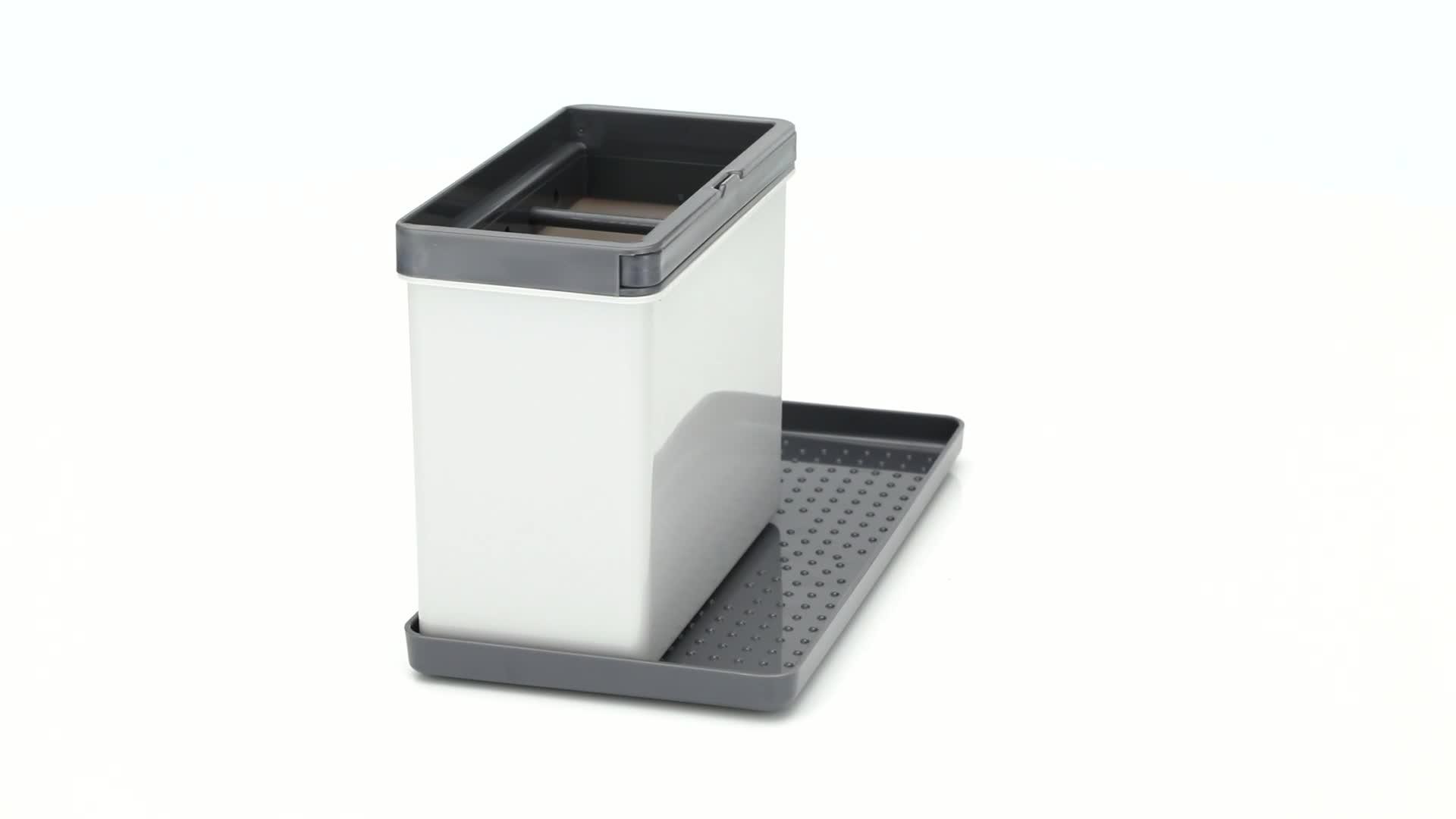 41yL0qDeLFL Metaltex 297530109 Tidytex Spülbecken-Organizer 24x13x14cm ABS, Plastik, Grau, 24 x 13 x 14 cm